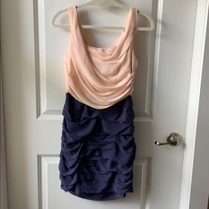 - Express pink and purple ruched dress